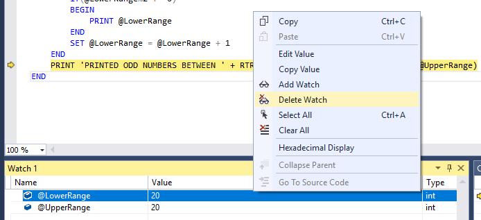 SQL Server debugging in SSMS - deleting a watch