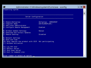Windows Server 2012 Core-sconfig