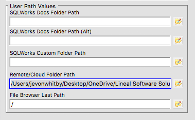 sqlworks cloud link filepath