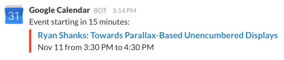 Google event announcement in Slack