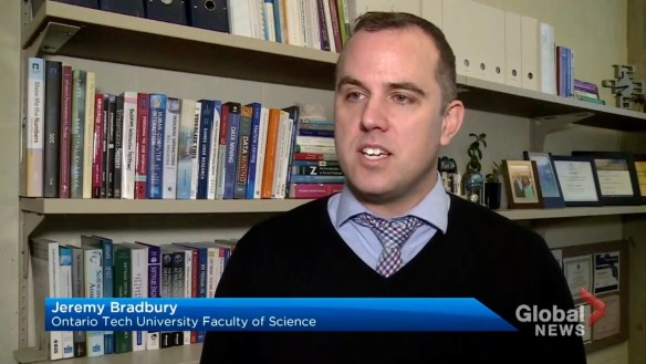 Jeremy Bradbury on Global News Durham (copyright Global News Durham)