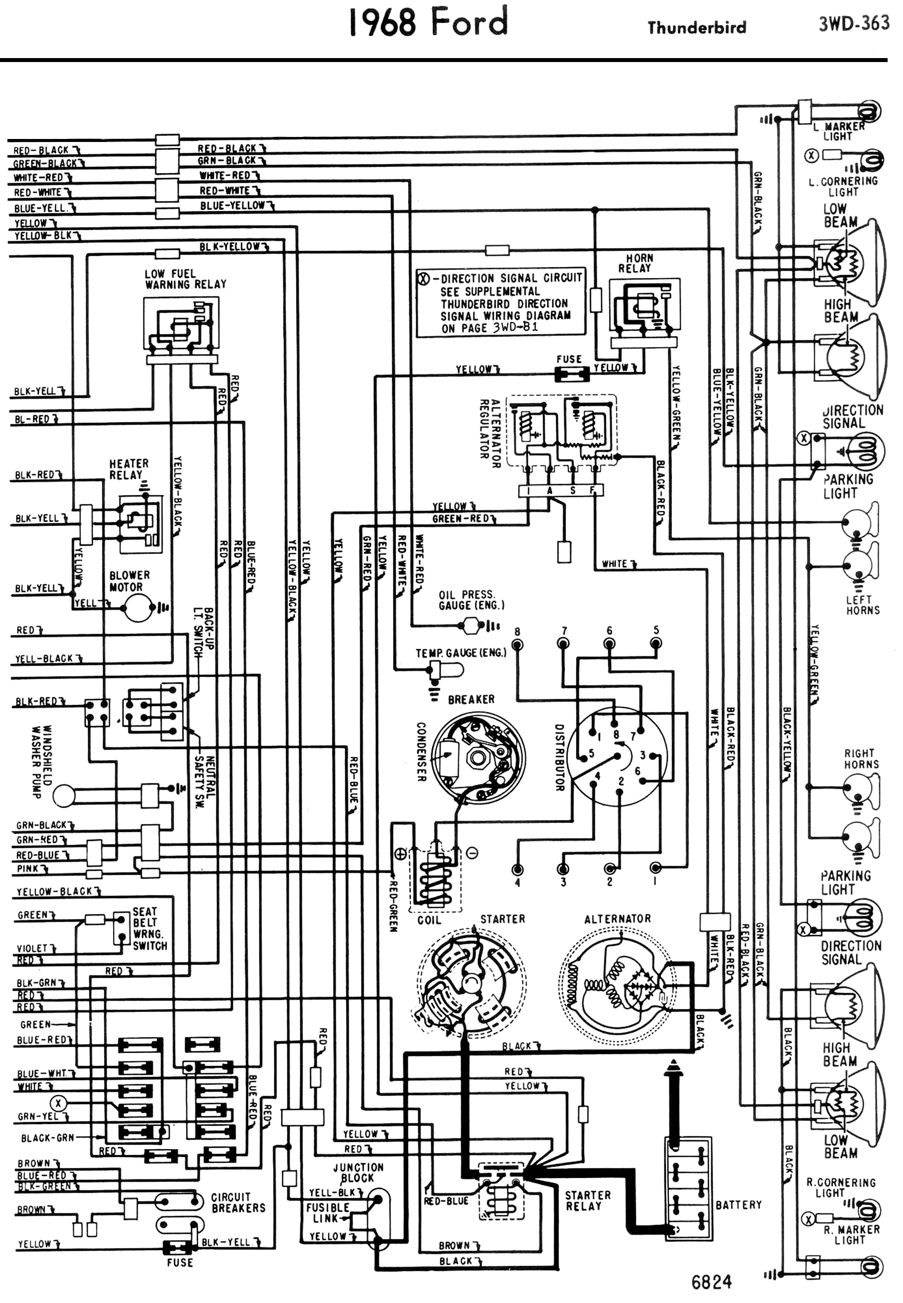 tail light wiring diagram security camera wire color 1965 ford thunderbird turn signal