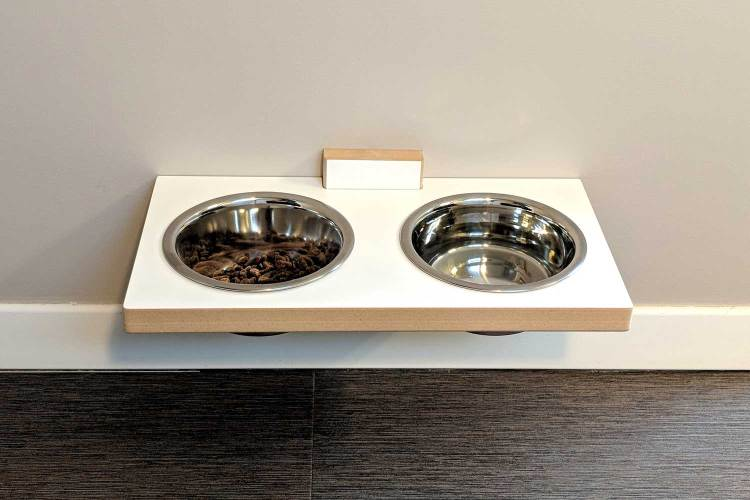 chow meow modern elevated cat bowls in white SDF