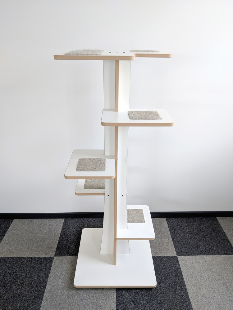 Modern cat tower in white SDF and hamster inserts 360-7