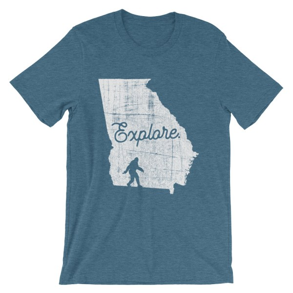 Heather deep teal explore Georgia Bigfoot t-shirt