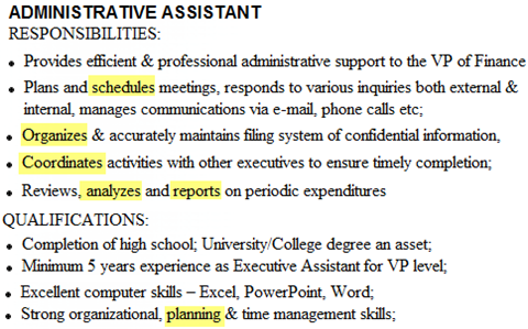 Administrative Assistant Tasks For Resume