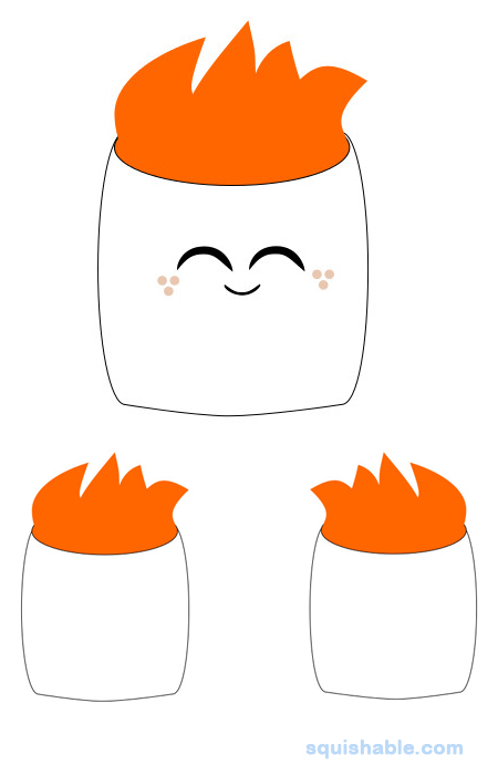 squishable flaming marshmallow