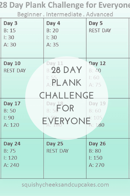 28 Day Plank Challenge for Everyone!!  Monthly Fitness Challenge with Squishy Cheeks & Cupcakes #fitness #challenge #plankchallenge @squishy_cheeks