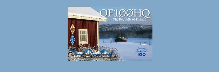 OF100HQ-aseman QSL-kortti. Kortissa on talvimaisema.