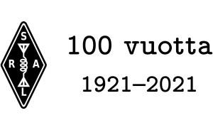 Suomen Radioamatööriliiton logo, jossa on teksti 100 vuotta 1921 - 2021.