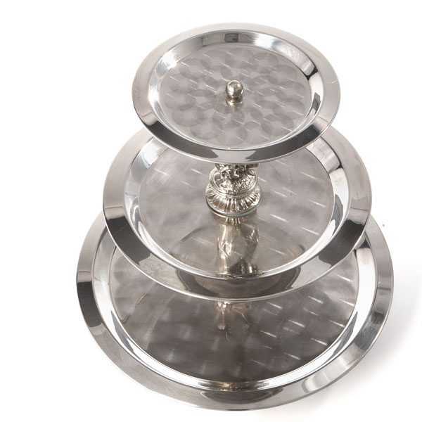 3-tier silver serving piece top view