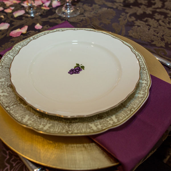 Beautiful vintage china on a gold charger