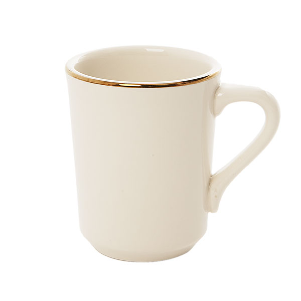 Gold rimmed coffee mug