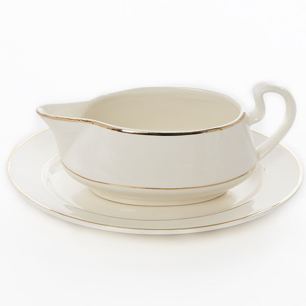 Gravy boat with plate - Gold rim