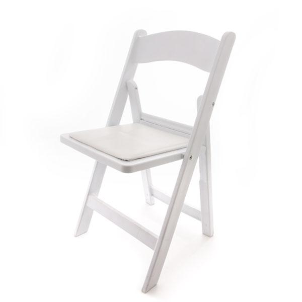 white resin padded folding chair