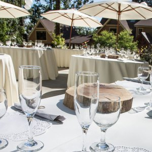 Outdoor event uses market umbrella, round and rectangular tables and glassware