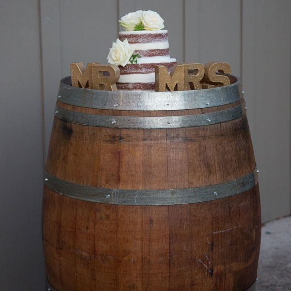 Wine barrel used for cake display