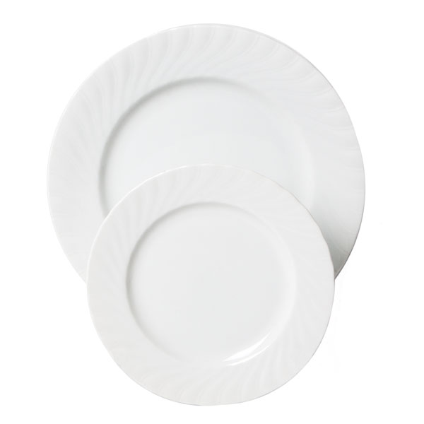 Regina plates have a scalloped edge