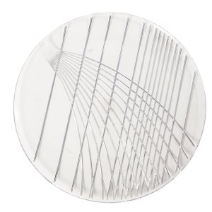 Round, clear, plastic tray with design