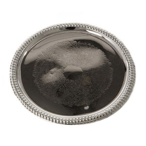 Round serving tray in stainless