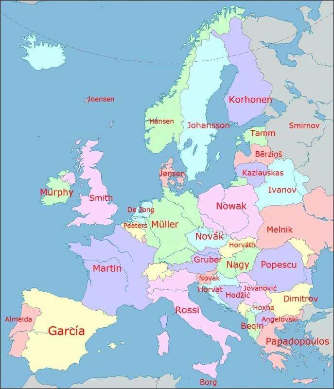 Otkrijte koje je najčešće prezime u svakoj zemlji Europe