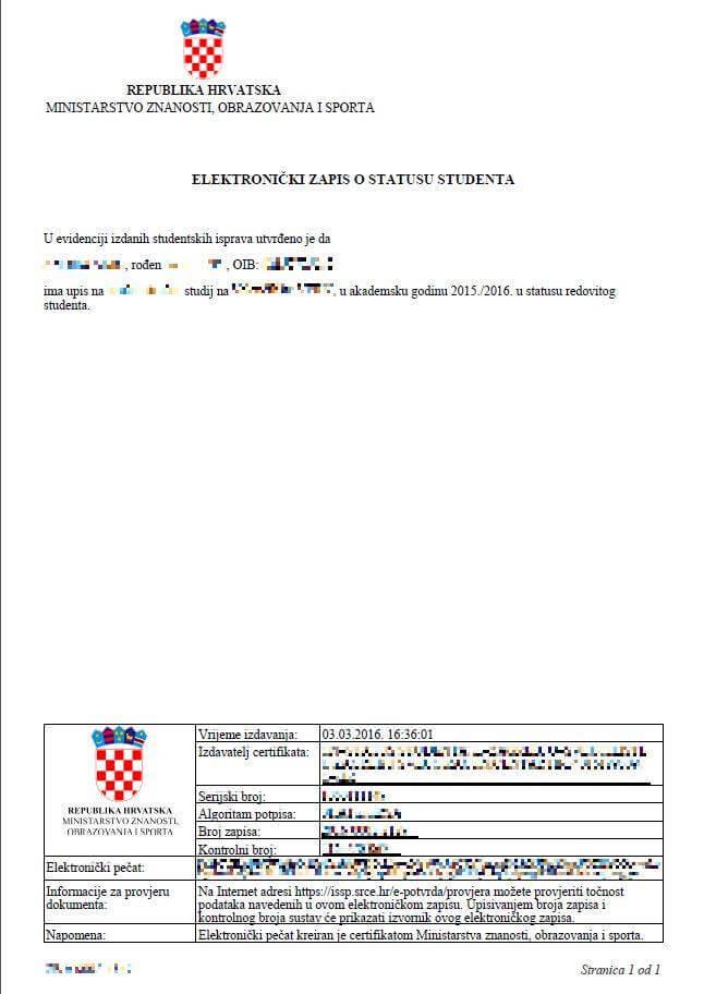 Iz MZOS-a konačno službeno potvrdili: e-potvrda o statusu studenta je vjerodostojna