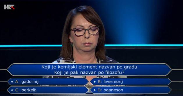 [Zadatak dana] Profesorica kemije u Milijunašu odustala na pitanju o – kemiji. Znate li vi odgovor?
