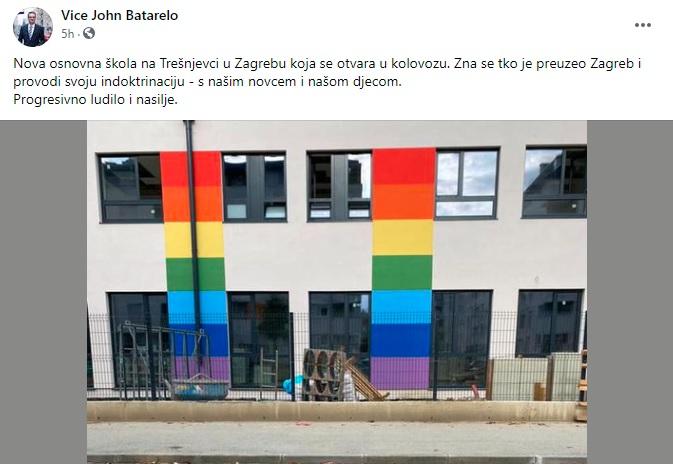 Poznati desničar poludio zbog osnovne škole koja na zidu ima dugine boje pa se žešće izblamirao