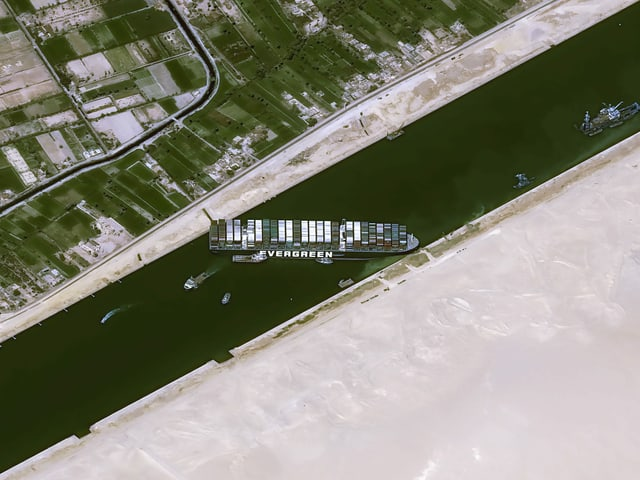 Satellite images show the predicament of the giant ship in the Suez Canal.