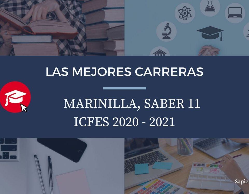 Las mejores carreras Marinilla, saber 11, Icfes 2020-2021