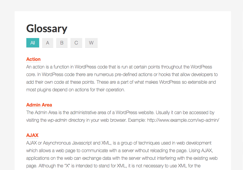 A to Z filterable glossary in WordPress using Types & Views