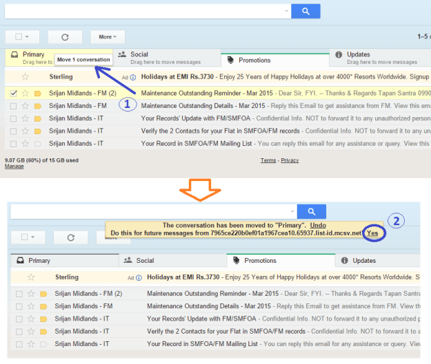 How take SM FM or Info emails into Primary Tab of your Gmail InBox