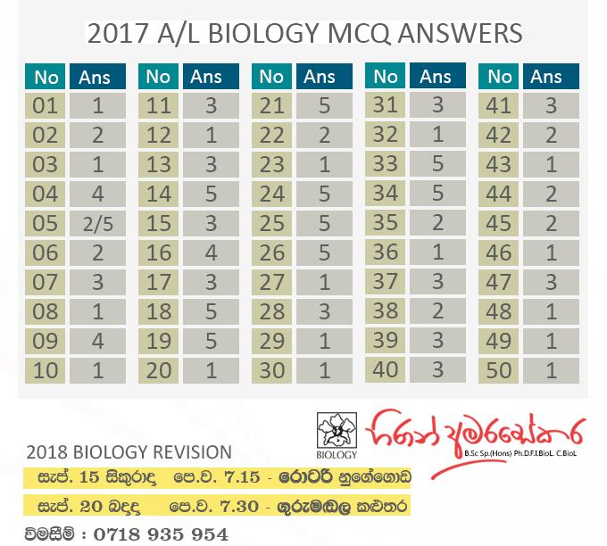2017-Biology-MCQ-Answers