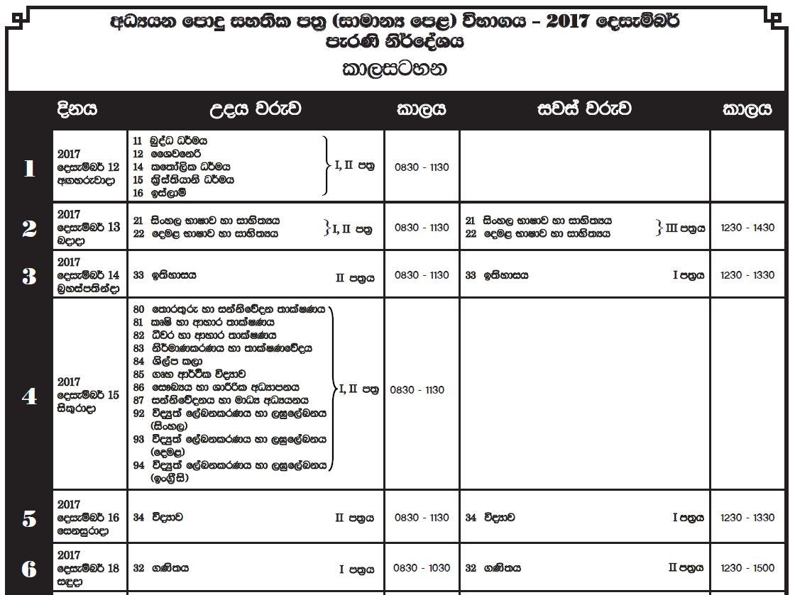 GCE OL 2017 Exam Old Syllabus Time Table