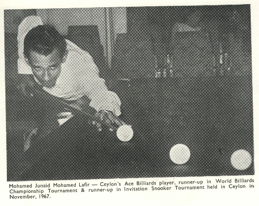 M.J.M. Lafir - World Billiards Champion 1973