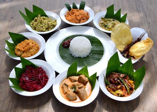 Local foods rice and curry sri lanka