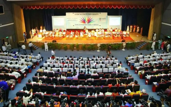 Sri-Sri-Ravi-Shankar-Strength-in-Diversity-North-East-conference-stage-top-front