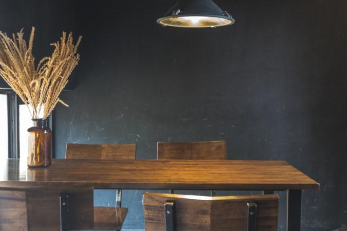 dark and moody dining room