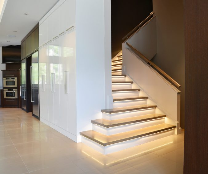 LED tape lighting on stairs