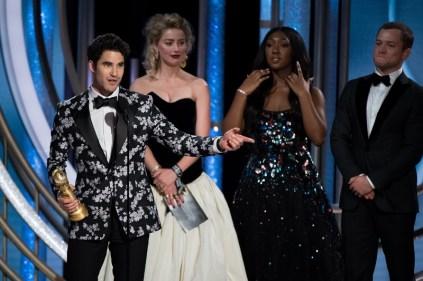 """Darren Criss, o vencedor do prêmio de melhor ator em minissérie/telefilme por """"Assassinato de Gianni Versace: American Crime Story"""" (Foto: Divulgação / Crédito: HFPA Photographer)."""