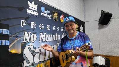"Royce do Cavaco participa do ""Programa No Mundo do Samba"". Foto: Rádio Trianon"