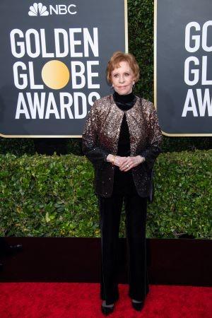 Carol Burnett, comediante que dá nome ao prêmio especial de TV da HFPA, no tapete vermelho (Foto: Divulgação / Crédito: HFPA Photographer).