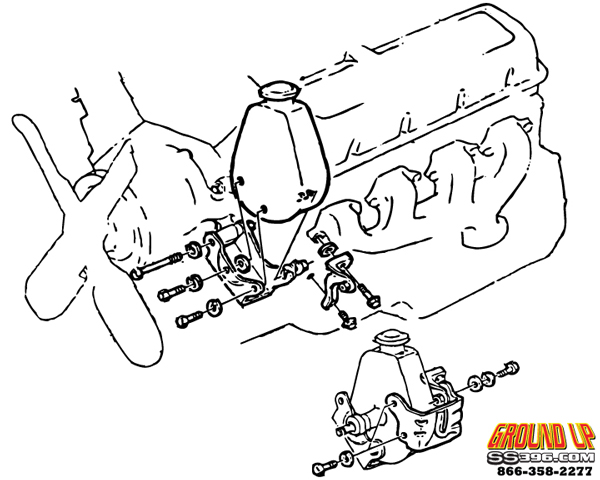 1969 Chevelle Big Block Power Steering Bracket Set
