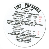 Chevelle Tire Pressure Decals. 1964-1972 Chevelle Tire