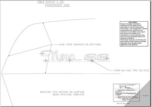 1963 Chevrolet Nova SS Quarter Panel Emblem Template Kit