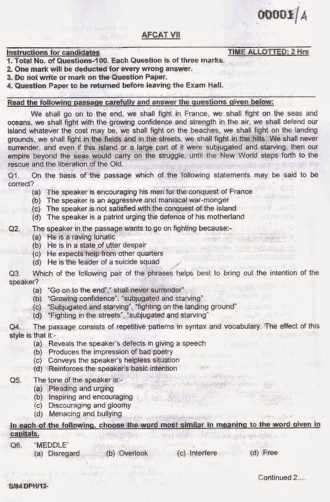 AFCAT 1/2013 Question Paper
