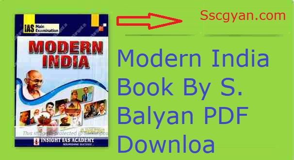 Modern India Book By S. Balyan