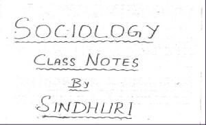 Sinduri Mam Sociology Notes PDF