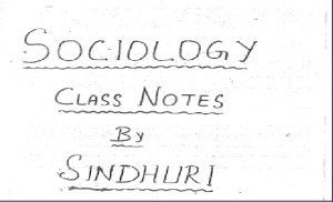 Sinduri Mam Sociology Notes PDF
