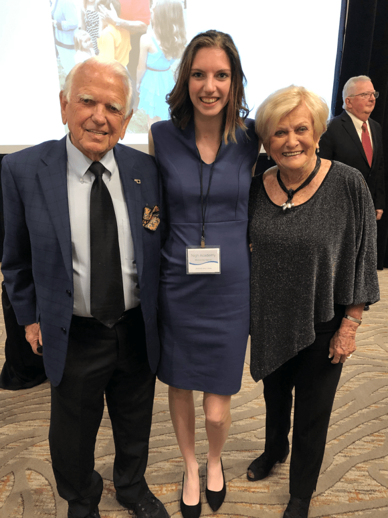 McKenna Hanan, of Seminole, (center) poses with former Governor George Nigh (left) and his wife Donna (right)